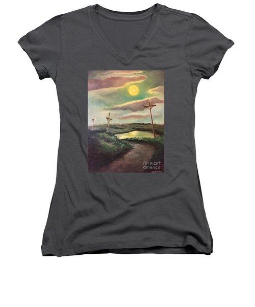 The Moon With Three Crosses Women's V-Neck T-Shirt (Junior Cut) by Randy Burns