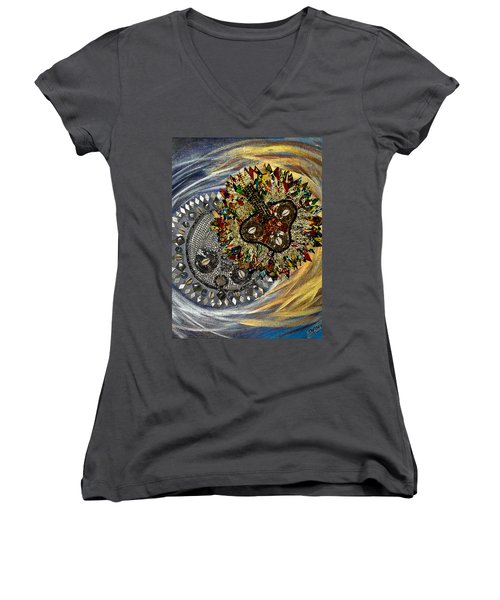 The Moon's Eclipse Women's V-Neck T-Shirt (Junior Cut) by Apanaki Temitayo M