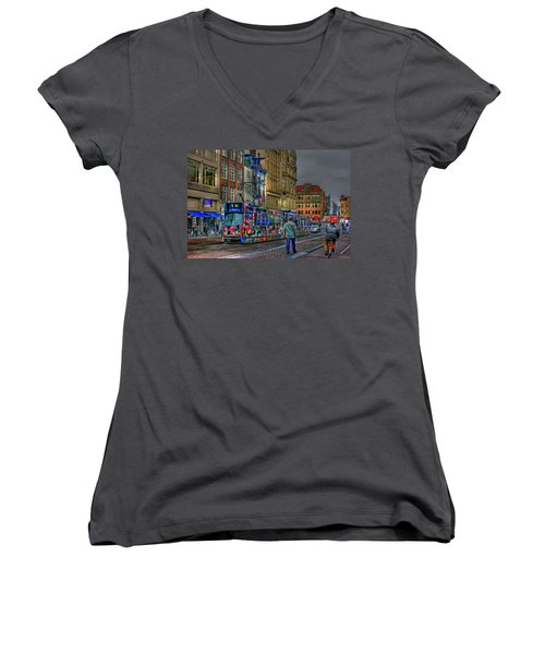 Women's V-Neck T-Shirt (Junior Cut) featuring the photograph The Morning Rhythm by Ron Shoshani
