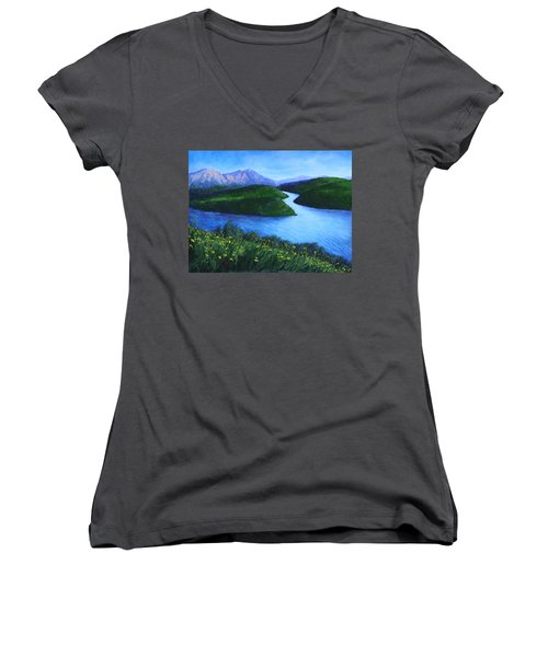 The Mountains Beyond Women's V-Neck T-Shirt (Junior Cut) by Penny Birch-Williams