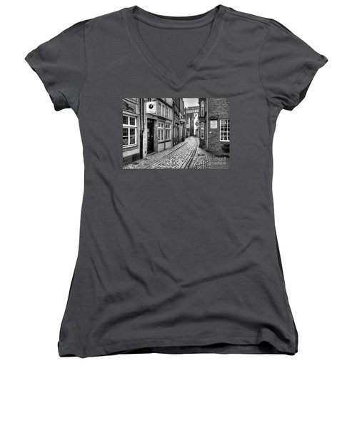 The Narrow Cobblestone Street Women's V-Neck T-Shirt