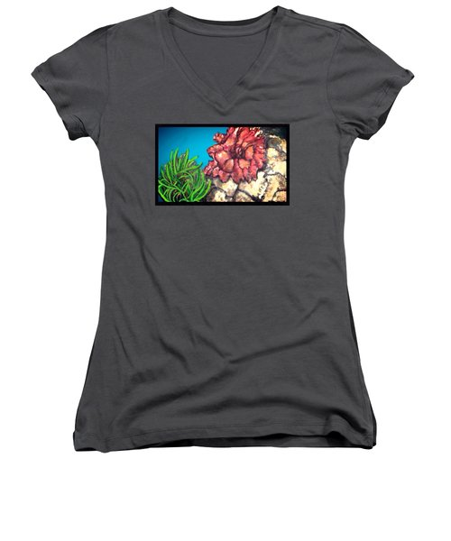 The Odd Couple Two Very Different Sea Anemones Cohabitat Women's V-Neck T-Shirt (Junior Cut) by Kimberlee Baxter