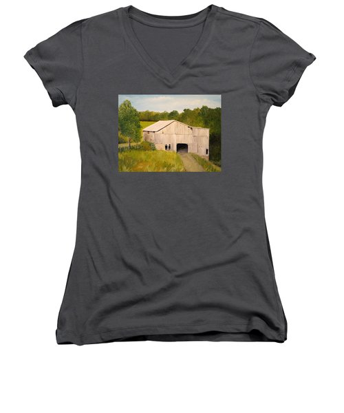 Women's V-Neck T-Shirt (Junior Cut) featuring the painting The Old Barn by Alan Lakin