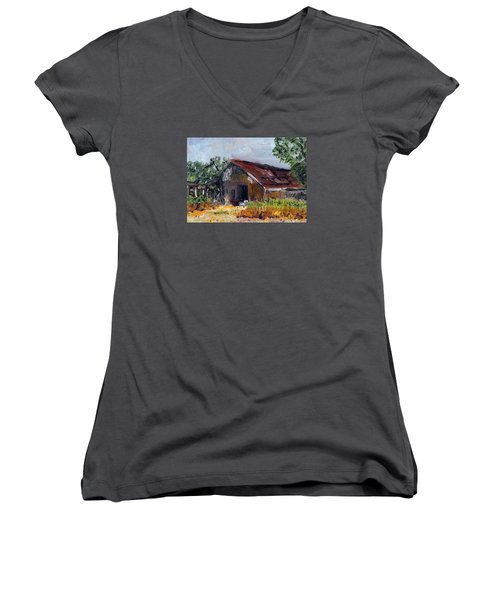 Women's V-Neck T-Shirt (Junior Cut) featuring the painting The Old Barn by Michael Helfen