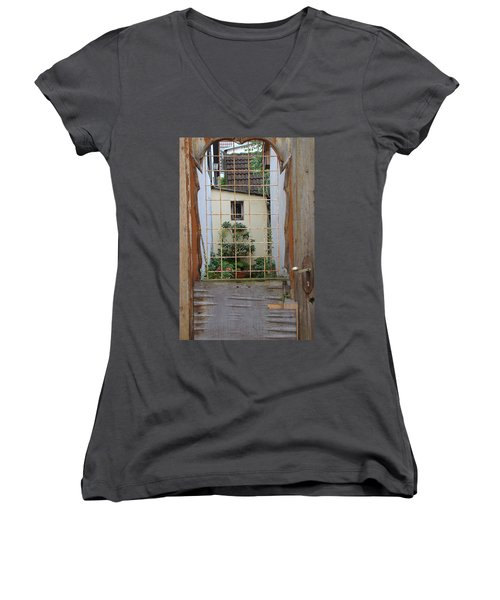 Memories Made Beyond This Old Door Women's V-Neck (Athletic Fit)