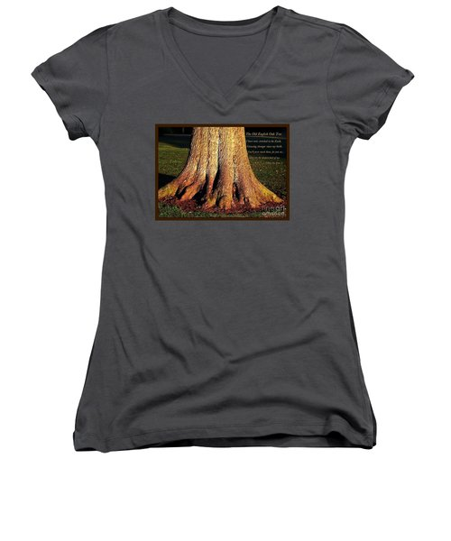 The Old English Oak Tree Women's V-Neck (Athletic Fit)