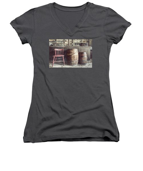 The Old General Store - Red Chair And Barrels In This 19th Century Store Women's V-Neck
