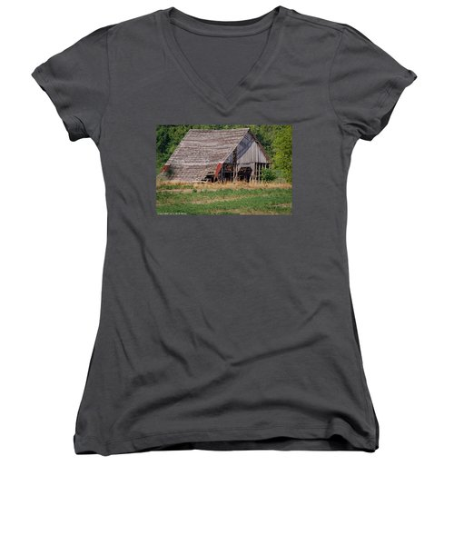 Women's V-Neck T-Shirt (Junior Cut) featuring the photograph The Old Gray Barn by Nick Kirby