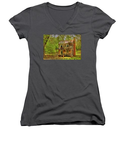 The Old Home Place Women's V-Neck T-Shirt (Junior Cut) by Dan Stone