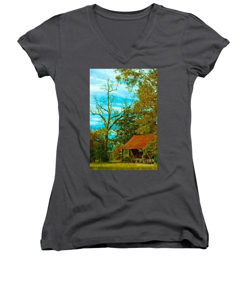 The Old Homestead 2 Women's V-Neck (Athletic Fit)