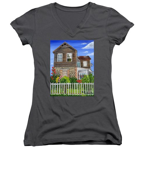 Women's V-Neck T-Shirt (Junior Cut) featuring the painting The Old House by Laura Forde