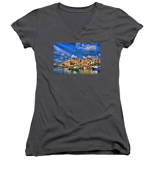 Women's V-Neck T-Shirt featuring the photograph the old Jaffa port by Ron Shoshani
