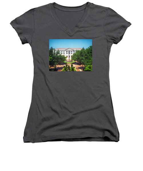 The Old Main - University Of Arkansas Women's V-Neck T-Shirt (Junior Cut) by Mountain Dreams