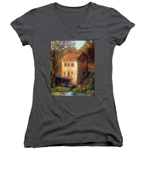 The Old Mill Women's V-Neck T-Shirt (Junior Cut) by Gail Kirtz