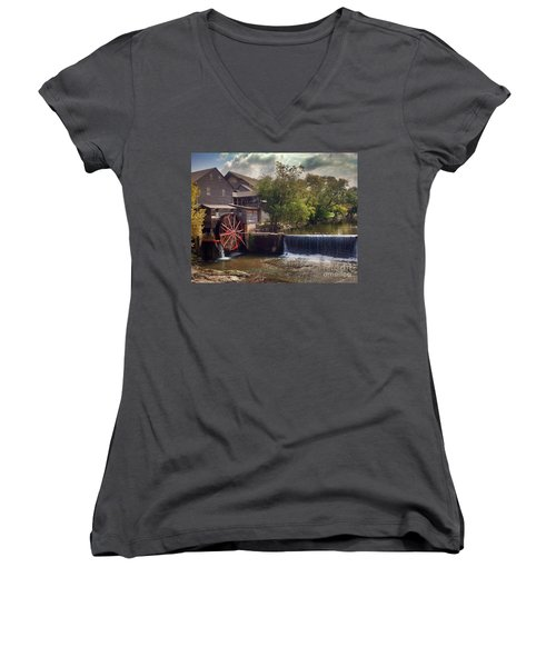 Women's V-Neck T-Shirt (Junior Cut) featuring the photograph The Old Mill by Janice Spivey