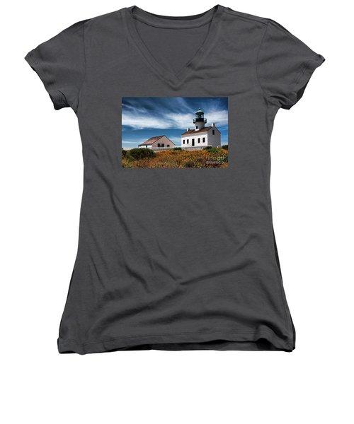 The Old Point Loma Lighthouse By Diana Sainz Women's V-Neck