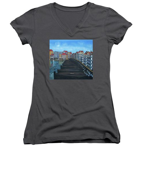 The Old Queen Emma Bridge In Curacao Women's V-Neck T-Shirt (Junior Cut) by Frank Hunter