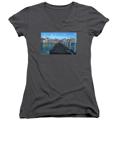 The Old Queen Emma Bridge In Curacao Women's V-Neck
