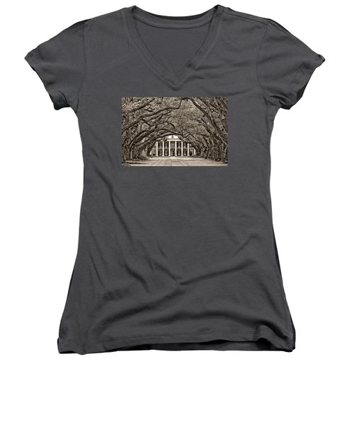 The Old South Sepia Women's V-Neck T-Shirt (Junior Cut) by Steve Harrington