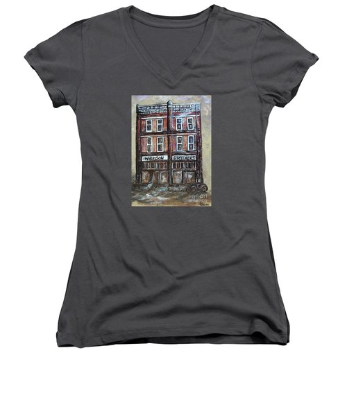 Women's V-Neck T-Shirt (Junior Cut) featuring the painting The Old Store by Eloise Schneider