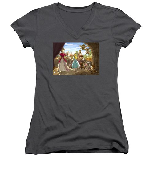Women's V-Neck T-Shirt (Junior Cut) featuring the painting The Palace Balcony by Reynold Jay