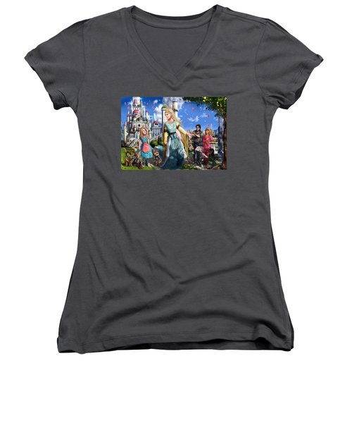 Women's V-Neck T-Shirt (Junior Cut) featuring the painting The Palace Garden  by Reynold Jay