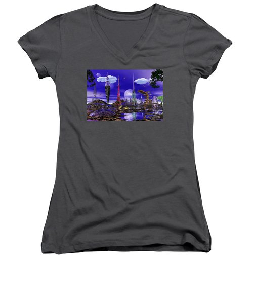 The Palace Of Prax Women's V-Neck T-Shirt (Junior Cut) by Mark Blauhoefer