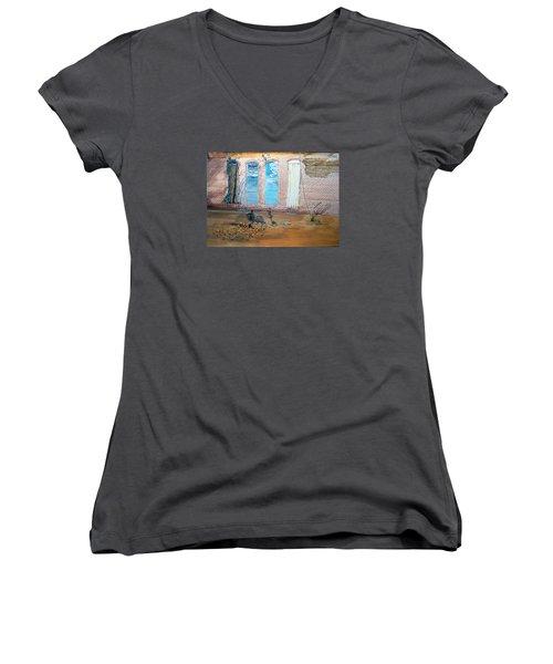 The Parade Of The Moods Women's V-Neck T-Shirt (Junior Cut) by Lazaro Hurtado