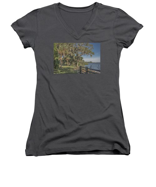 Women's V-Neck T-Shirt (Junior Cut) featuring the photograph The Park by Jane Luxton