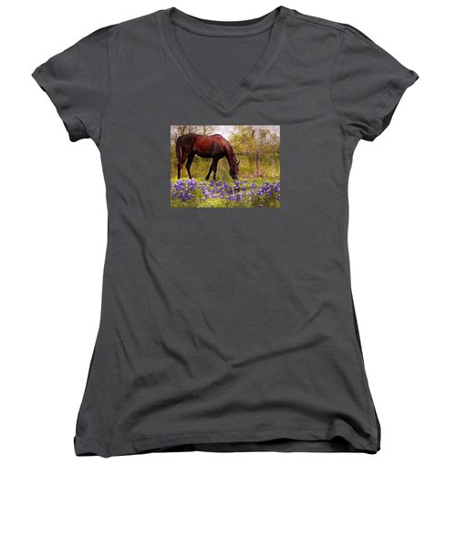 Women's V-Neck T-Shirt (Junior Cut) featuring the photograph The Pasture by Kathy Churchman
