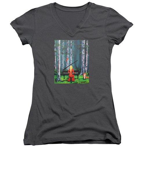 The Pianist In The Woods Women's V-Neck T-Shirt (Junior Cut) by Patricia Olson