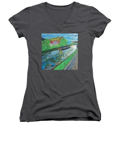 The Pickle - Grand Union Canal Women's V-Neck T-Shirt (Junior Cut) by Mudiama Kammoh