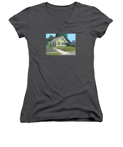 Women's V-Neck T-Shirt (Junior Cut) featuring the painting Our Neighbour's House by Gary Giacomelli