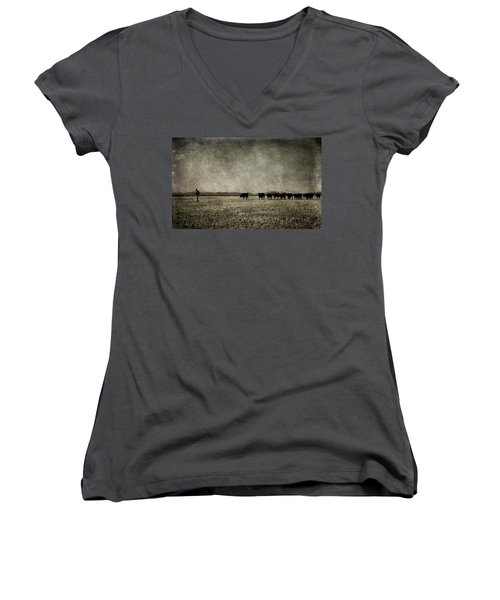 The Pied Piper Of Angustown Women's V-Neck T-Shirt (Junior Cut) by Cynthia Lassiter