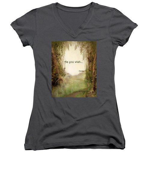 The Princess Bride - As You Wish Women's V-Neck T-Shirt (Junior Cut) by Paulette B Wright
