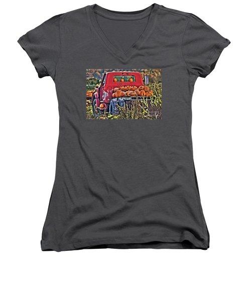 The Pumpkin Hauler Women's V-Neck T-Shirt (Junior Cut) by Sonya Lang
