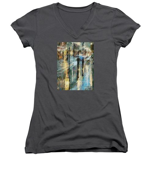 Women's V-Neck T-Shirt (Junior Cut) featuring the painting The Rain In Paris by Dragica  Micki Fortuna