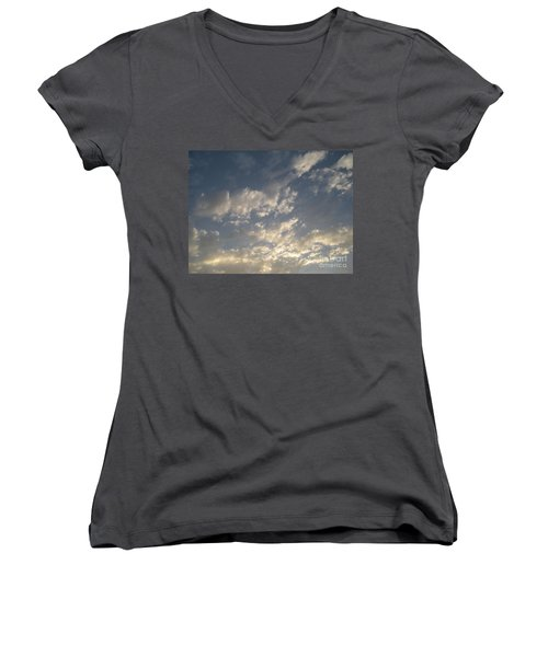 The Rain Storm  Women's V-Neck T-Shirt (Junior Cut) by Joseph Baril
