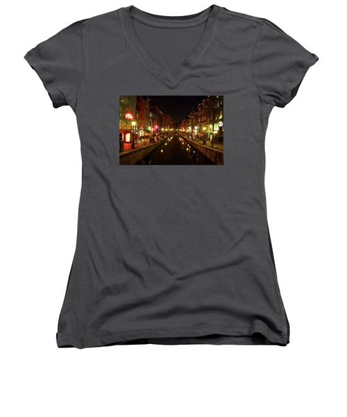 The Red Lights Of Amsterdam Women's V-Neck T-Shirt (Junior Cut) by Jonah  Anderson