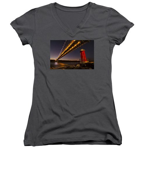 The Red Little Lighthouse Women's V-Neck T-Shirt