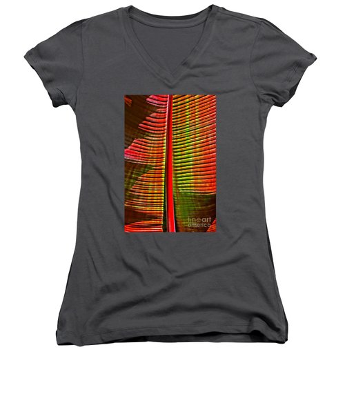 The Red Palm Women's V-Neck T-Shirt (Junior Cut) by Joseph J Stevens