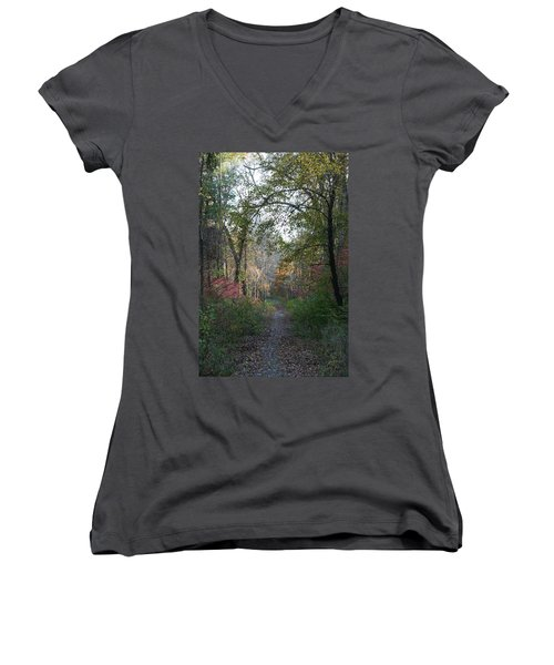 The Road Ahead No.2 Women's V-Neck T-Shirt (Junior Cut) by Neal Eslinger