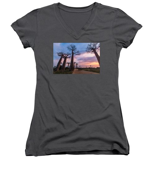 Women's V-Neck featuring the photograph The Road To Morondava by Alex Lapidus