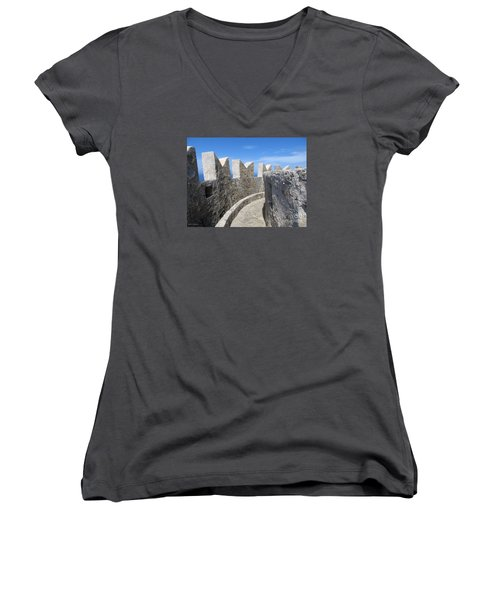 Women's V-Neck T-Shirt (Junior Cut) featuring the photograph The Rocks And The Path by Ramona Matei