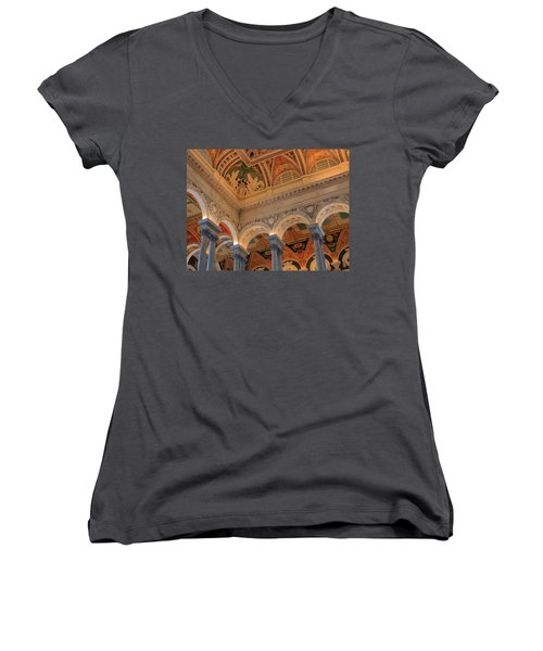 The Roof Above Jefferson's Books  Women's V-Neck (Athletic Fit)