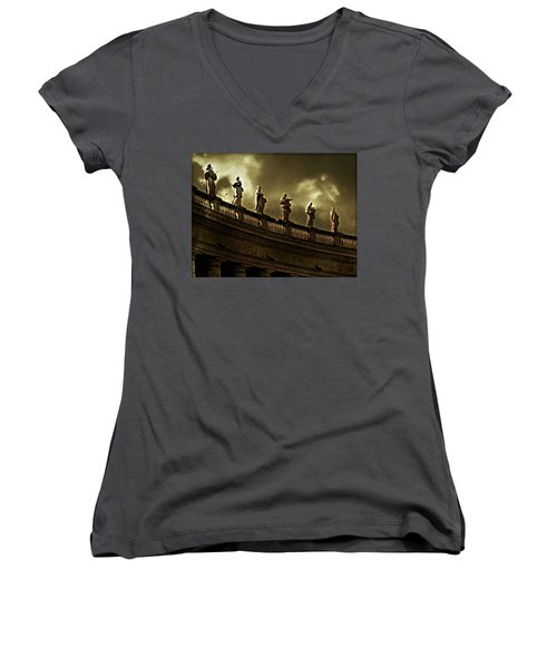 Women's V-Neck T-Shirt (Junior Cut) featuring the photograph The Saints  by Micki Findlay