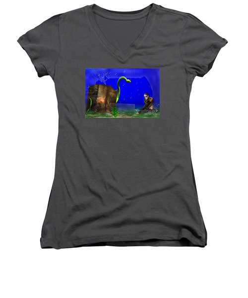 The Scent Of The Girl  Women's V-Neck T-Shirt (Junior Cut) by Liane Wright