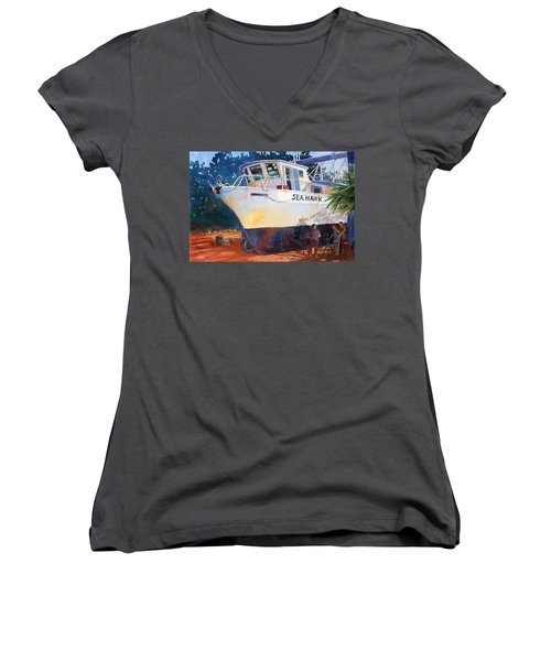 The Sea Hawk In Drydock Women's V-Neck T-Shirt