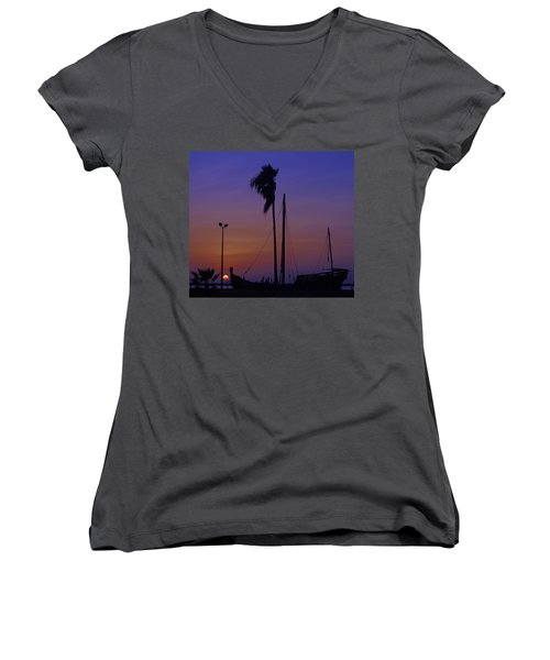 Women's V-Neck T-Shirt (Junior Cut) featuring the photograph The Ship by Leticia Latocki