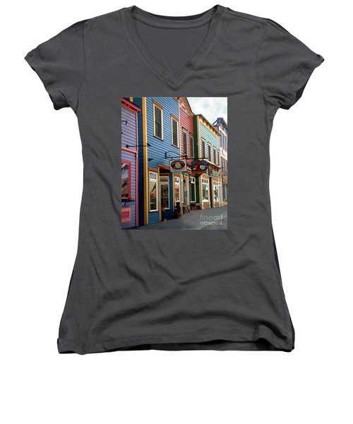The Shops In Crested Butte Women's V-Neck T-Shirt (Junior Cut) by RC DeWinter